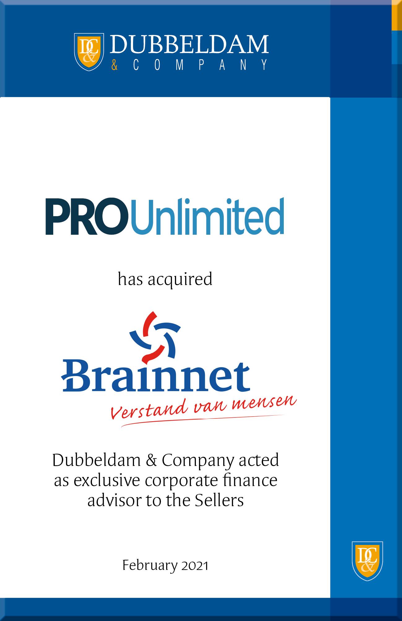 Overname Brainnet door PRO Unlimited